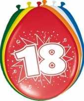 Gekleurde ballonnen versiering 18 jaar 16x stuks