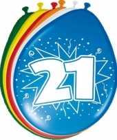 Gekleurde ballonnen versiering 21 jaar 16x stuks