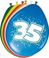 Gekleurde ballonnen versiering 35 jaar 16x stuks