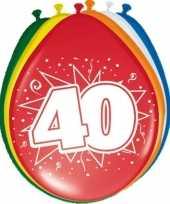 Gekleurde ballonnen versiering 40 jaar 16x stuks