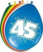 Gekleurde ballonnen versiering 45 jaar 24x stuks
