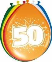 Gekleurde ballonnen versiering 50 jaar 16x stuks