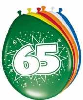 Gekleurde ballonnen versiering 65 jaar 16x stuks