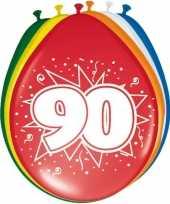 Gekleurde ballonnen versiering 90 jaar 16x stuks