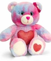 Gekleurde beer met rood hart zittend 25 cm