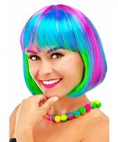 Gekleurde boblijn dames pruik