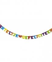 Gekleurde letterslinger hartelijk gefeliciteerd 237 cm