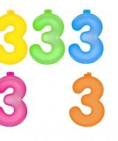 Gekleurde opblaas cijfer 3