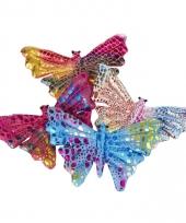 Gekleurde vlinder assorti kleuren 12 cm