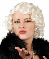 Gekrulde damespruik blond