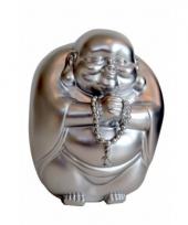 Geld spaarpot boeddha zilver 23 x 18 cm
