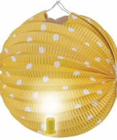 Gele feest lampion met witte stippen 20 cm