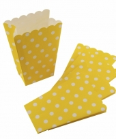 Gele feest popcornbakjes met witte stippen