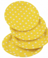 Gele feestbordjes met witte stippen 23 cm