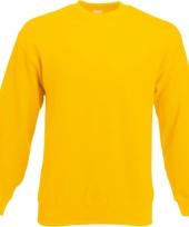Gele fruit of the loom sweater ronde hals