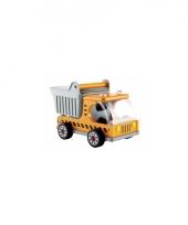Gele kiepwagen speelgoedauto