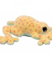 Gele kikker met roze stippen knuffeldier 15 cm
