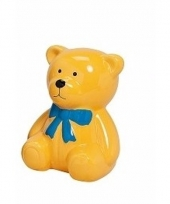 Gele kinder teddybeer spaarpot