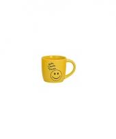 Gele koffiemok met smiley type 2