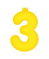 Gele opblaasbare getal 3