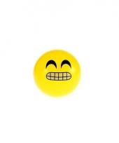 Gele smiley stuiterbal 8 cm