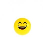 Gele smiley stuiterbal met lachend gezicht 8 cm