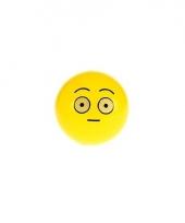 Gele smiley stuiterbal met verbaasd gezicht 8 cm