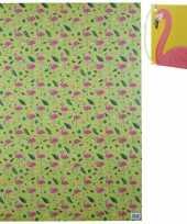Geschenkpapier flamingos en vruchten 1 vel