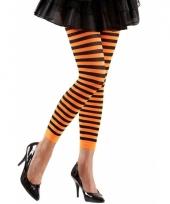 Gestreept dames legging oranje zwart