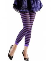 Gestreept dames legging paars zwart