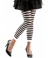 Gestreept dames legging wit zwart
