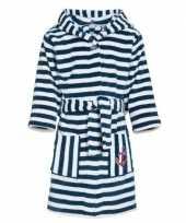 Gestreepte badjas blauw wit voor jongens meisjes kinderen