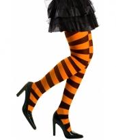 Gestreepte heksen panty neon oranje