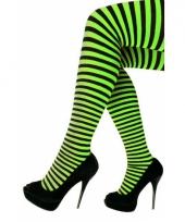Gestreepte panty zwart groen