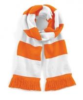 Gestreepte retro sjaal wit oranje