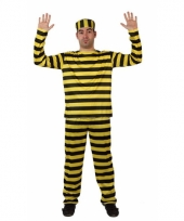 Gevangene kostuum geel met zwart