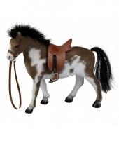 Gevlekt speelgoed paard met zadel 23 cm