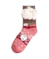 Gevoerde dames huissokken roze 10077804