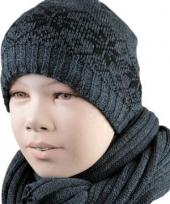 Gevoerde kindermuts nordic grijs
