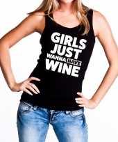 Girls just wanna have wine tanktop mouwloos shirt zwart dames