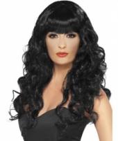 Glamour dames pruik met zwarte krullen