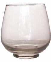 Glazen kaarsenhouder gerookt glas 13 cm bruges