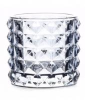 Glazen kaarsenhouder lichtblauw lyon 10 cm
