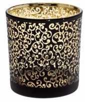 Glazen kaarsenhouder zwart goud prague 8 cm