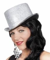 Glitterende hoge hoed zilver