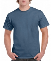 Goedkope gekleurde shirts indigo blauw voor volwassenen