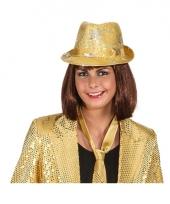 Goud glitter disco hoedje met sterren