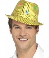 Goud glitter hoedje met led verlichting