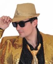 Gouden disco hoed met pailletten