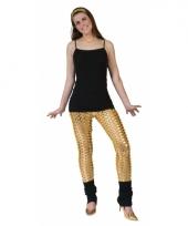 Gouden disco legging met gaten